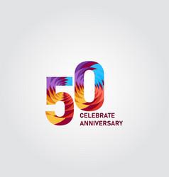 50 year anniversary elegant rainbow template vector