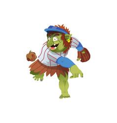 A baseballl troll throwing a rock vector