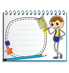 A notebook with an image of a boy writing vector image