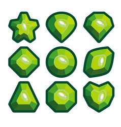 a set of green emblems of precious stones vector image