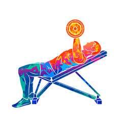 abstract man training chest with dumbbells on vector image