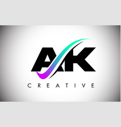 Ak letter logo with creative swoosh curved line vector