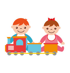 baby boy and girl with train toy vector image
