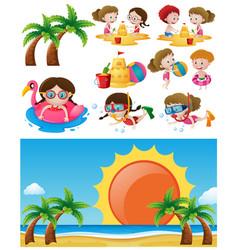 Beach scene with children in different activities vector