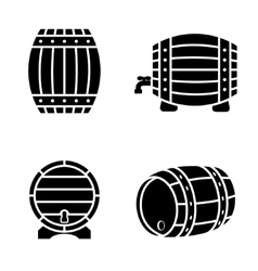Black barrels icons set on white background vector