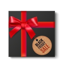 Black gift with red bow vector