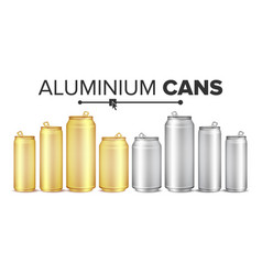 blank metallic cans set empty layout for vector image
