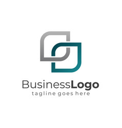 blue and grey abstract square linked business logo vector image