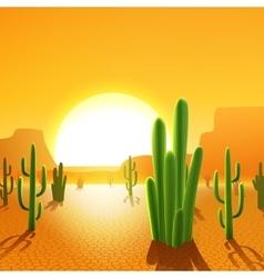 Cactus Plants In Desert vector
