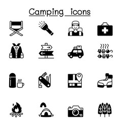 camping hiking icons set graphic design vector image