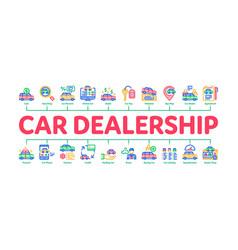 Car dealership shop minimal infographic banner vector