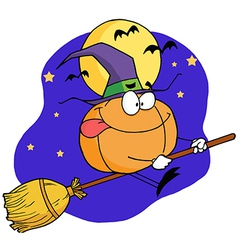 Cartoon Character Pumkin Riding A Broom vector