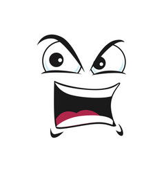 Cartoon face icon gloat emoji with angry eyes vector