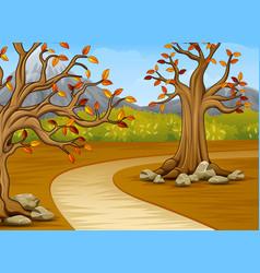 cartoon of beautiful autumn tree with a mountain b vector image