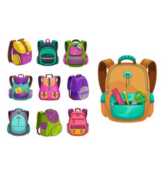 cartoon schoolbags icons kids school bags vector image