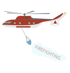 concept image firefighting using fire helicopter vector image