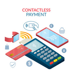 Contactless payment concept wireless vector