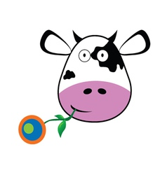 Cow with a flower in her mouth vector