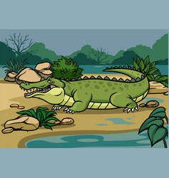 Crocodile in the nature vector