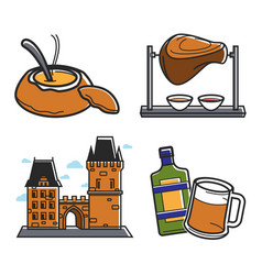 Czech republic country symbols food and drink vector