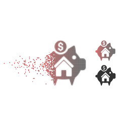 Decomposed pixel halftone realty piggy bank icon vector