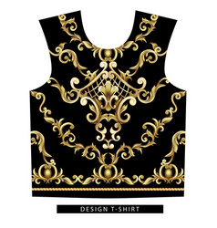 Design scarf with golden baroque elements vector