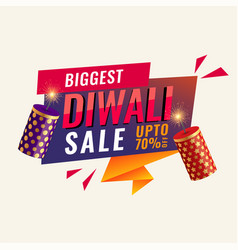 Diwali abstract sale banner with crackers vector
