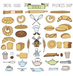 Doodle bakerybread icons setColored vintage vector