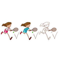 doodle character for female tennis player vector image