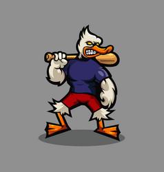 Duck mascot logo design with modern vector
