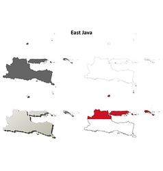 East Java blank outline map set vector