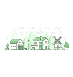 Eco farming - thin line design style vector