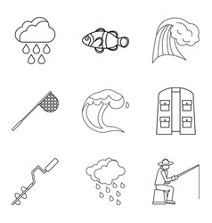 Effect of moisture icons set outline style vector