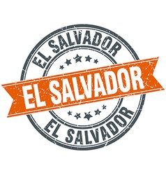 El Salvador red round grunge vintage ribbon stamp vector