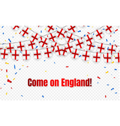 england garland flag with confetti on transparent vector image