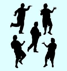 Fat man gesture silhouette 01 vector