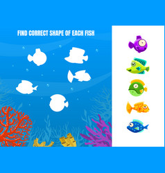 find correct shape each fish educational game vector image
