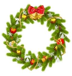 Fir Wreath with Golden Beads vector image