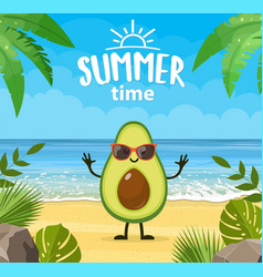 Funny summer banner with fruit characters vector