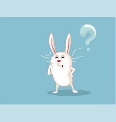 funny white rabbit having many questions vector image