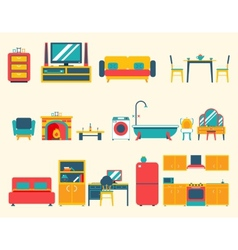 Furniture House Interior Icons and Symbols Set vector image