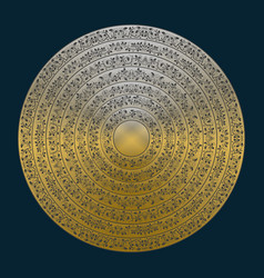 Gold mandala in antique style set of golden rings vector