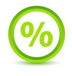 Green percentage icon vector