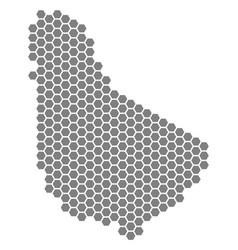 Grey hexagon barbados map vector