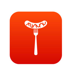 Grilled sausage on a fork mustard icon digital red vector