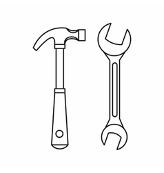 Hammer and wrench icon outline style vector image