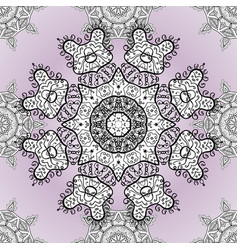 hand-drawn colored mandala on a neutral white and vector image
