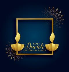 happy-diwali-golden-background-with-diya-lamps vector image