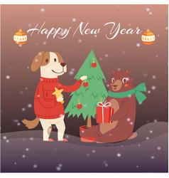 happy new year cartoon fir tree bear and dog in vector image