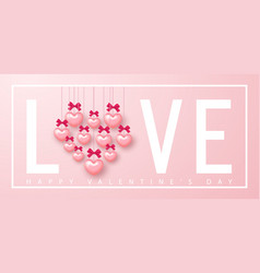 happy valentines day banner beautiful background vector image
